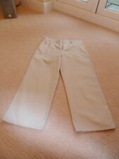 Ladies beige 3/4 length wide leg capri trousers