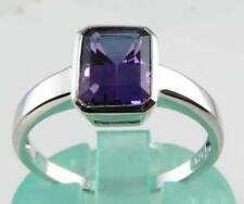 CLASSICLY SIMPLE 9CT WHITE GOLD OCTAGON AMETHYST RING