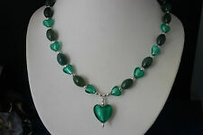 """Beautiful Necklace With Murano Glass And Green Agate Gemstone 18"""" Inches Long"""