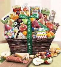 Happy Birthday Fruit & Sweets Basket Deluxe-Premium Quality Gourmet Food Present
