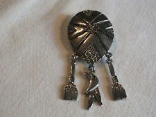 "Beautiful Brooch Pin Silver Tone Texture Dangling Brooms Crow Head 3 x 1 1/2"""