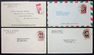 Mexico Postage Set Of 4 Covers Envelopes Adv Mexico Airmail Letters (H-10536