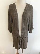 Massimo Dutti Woman Long Tie-Front Cardigan Sweater Bronzy Brown Plus Size 5/30