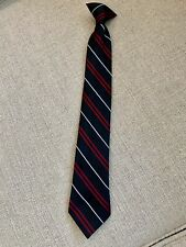 Boys Clip on Formal Tie Black White & Burgandy Stripes