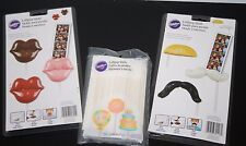 "NEW Set of Wilton Lollipop Molds  Mustaches, Lips and 100 6"" lollipop sticks"