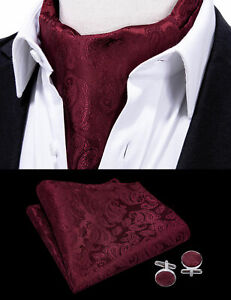 100% Silk Mens Cravat Set Burgundy Red Ascot Tie Vintage Paisley Neck Scarves HT