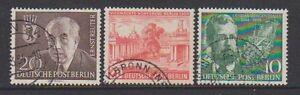 Germany (Berlin) - 1954, 3 x different Issues - F/U - SG B112/14