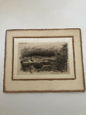 Very Rare PROFILE HOUSE Franconia Notch NH Etching Robinson Co ON SILK