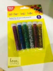 New Glitter Test Tube 6 in Pack Multi Color Craft Making Hobbies