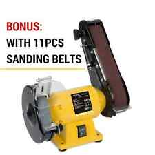 **150mm Bench Grinder Linisher Sanding Grinding Wheel Belt Sander with 11 Belts