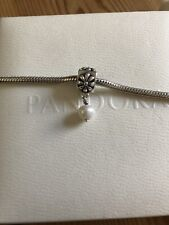 GENUINE PANDORA 925 ALE SILVER CHARM WITH HANGING  PEARL