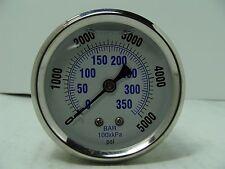 """PRO-202L-254R PRO 2.5"""" Glycerin Filled SS Gauge 1/4"""" NPT Back Mount 0/5000 psi"""