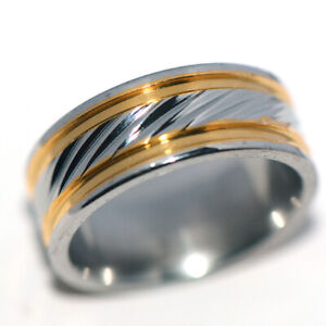 Vintage Mens Womens Band Ring Stainless Steel Rings 2Tone Hip Hop Jewelry Size 8