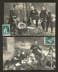 SET of 2 old R.PHOTO POSTCARDS: Militaries German WWI Pickelhaube GRAVE RIP 1914