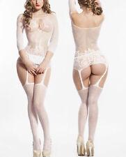 white Babydoll Fishnet Lingerie Underwear BODYSTOCKINGS SUSPENDERS garters