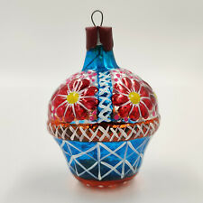 "Christmas Ornament ""Blue Basket with Red Flowers"" vintage Decoration USSR"