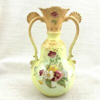 Antique Victorian Vase Hand Painted Staffordshire Pottery Twin Handled Yellow