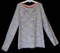 Girls M&S Pastel Pink Green Rainbow Multi Fleck Knit Style Jumper Age 9-10 Years