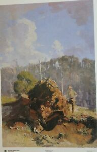 Sir Arthur Streeton,  The Digger and his Log.  Rare Australian Art Print. Large.