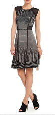 "$$$$ BCBG BLACK COMBO ""ILANA"" CAP SLEEVE JERSEY STRIPED DRESS NWT XS"