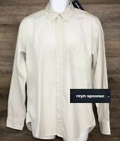 NWT Reyn Spooner Men's White Gray Geometric Long Sleeve Button Down Shirt NEW L
