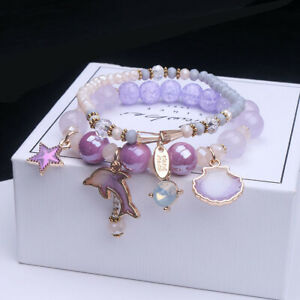 Women Lady Girl TwoLayer Bracelet Beads Multicolour Crystal Jewellery Stone Gift