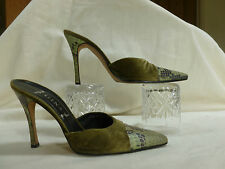 GINA LONDON LADIES  LEATHER AND VELVET MULES  UK 5.5   MADE IN ENGLAND