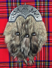 Kilt Sporran Costume Complet Fourrure De Renard Cantle Celtique Antique/Hommes
