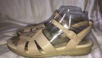 SAS Beige Leather HUARACHE Tripad Comfort Ankle Strap Sandals 10 S Narrow $125