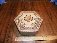 Vintage Hand-Tooled Leather Covered Dresser Box - Made In Morocco              !
