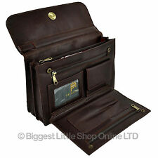NEW Gents Brown LEATHER Handy Wrist Wallet MANBAG by Prime Hide Organiser Travel