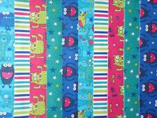 10 JELLY ROLL STRIPS 100% COTTON PATCHWORK FABRIC ~ MONSTERS