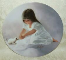 1985 TENDER BEGINNING Children & Pets PLATE Girl & White Kitten DONALD ZOLAN
