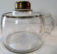 Antique Clear Glass Kerosene Oil Flat Hand Lamp w/ Finger Notches & Spill Guard