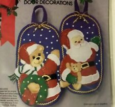 Christmas Door Decoration Kit Santa & Teddy Bear Sequins Bling BelL Vintage