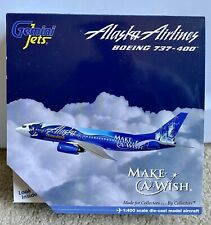 ULTRA RARE Gemini Jets 1:400 Alaska Airlines Boeing 737-400 Make a Wish N706AS