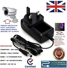 UK MAINS 12V 1A POWER SUPPLY SWITCHING ADAPTER AC/DC 100-240V FOR CCTV LIGHTS