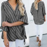 Plus Women Long Sleeve Stripe Loose Asymmetrical Shirt Tops Cross V Neck Blouse