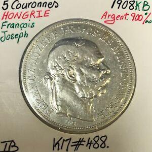 HONGRIE - 5 COURONNES 1908 KB - Pièce de Monnaie en Argent // TB