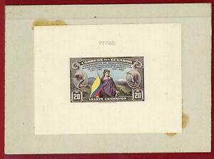 Ecuador 1938 #369, Die Proof on Card, 150th Anniv of US Constitution, Flag,Bird