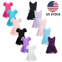 US Toddler Girls Kids Gymnastics Dance Dress Ballet Tutu Skirt Leotard Dancewear
