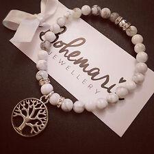 White howlite tree of life charm bracelet gemstone bijoux jewellery boho gypsy