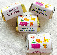 120 SAFARI ANIMAL HERSHEY WRAPPERS/LABELS PERSONALIZED for birthday party FAVORS
