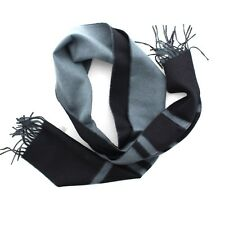 Coach 83829 Unisex Reversible Blanket Scarf Striped Black Charcoal Gray Fringe