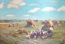 Willy Krug Bauern Gemälde Ernte Landwirte Öl Leinwand Arbeiter Neudeutsch