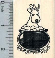 St Patrick's Day Dog Rubber Stamp, Irish Terrier J31724 Wm