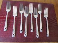IS ETERNALLY YOURS 8 Dinner Forks 1847 Rogers Vintage Silverplate Flatware  B