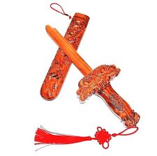 wooden carved sword peach wood dragon decor shower Christmas gift