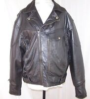 UNIK PREMIUM Black Leather Motorcycle Riders Biker Jacket Lined 50 Men's XXL