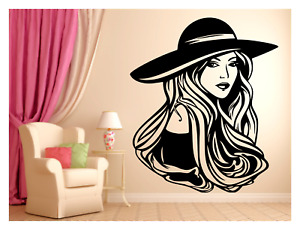 SEXY LADY WEARING HAT BEAUTY SALON HAIR BARBER WALL VINYL DECAL MURAL 22X26in